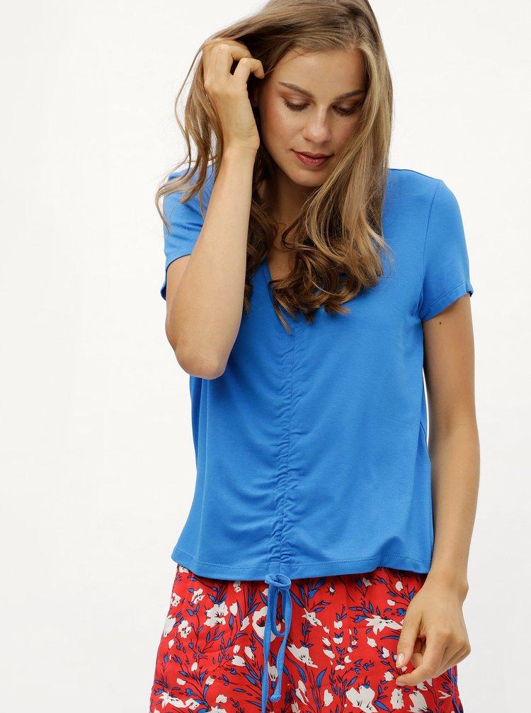 Modré tričko so sťahovaním v prednej časti Noisy May Milo