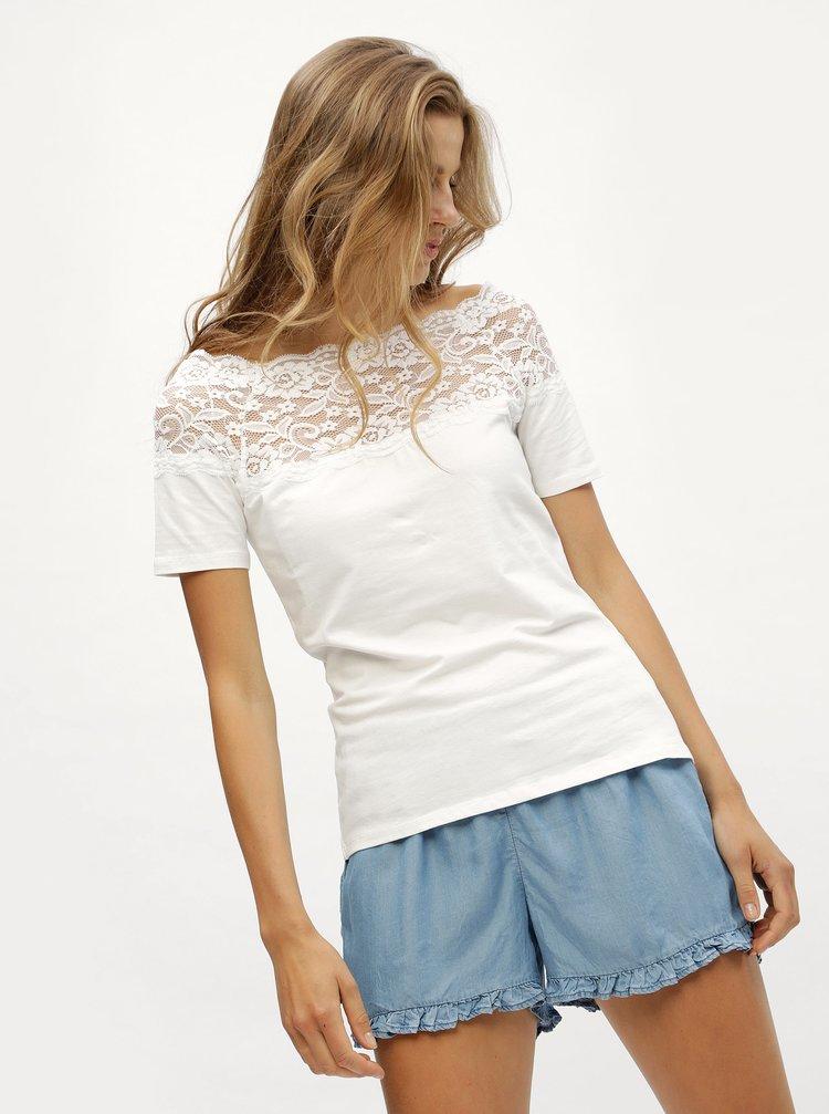 Bílé tričko s krajkovým sedlem Jacqueline de Yong Domino