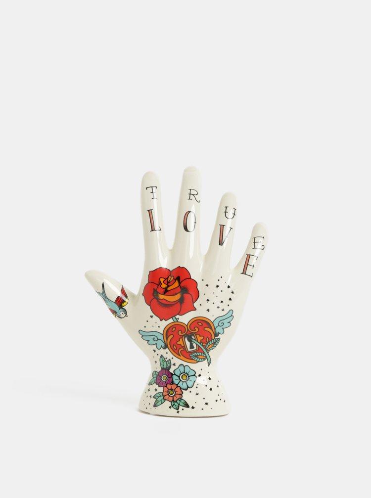 Krémový držák na prstýnky s květovaným motivem Temerity Jones