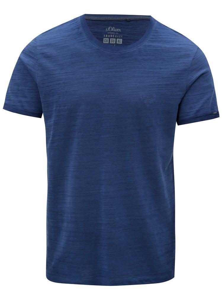 Modré pánske melírované slim fit basic tričko s.Oliver