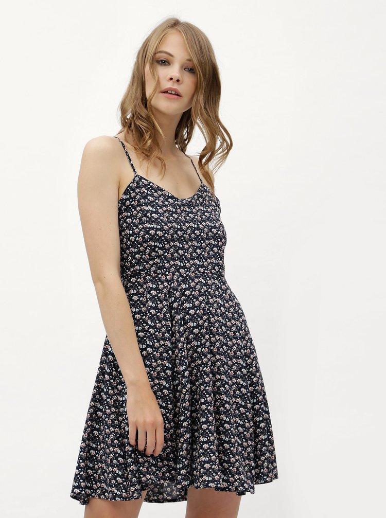 Tmavě modré květované šaty s vázáním na zádech Haily´s Victoria