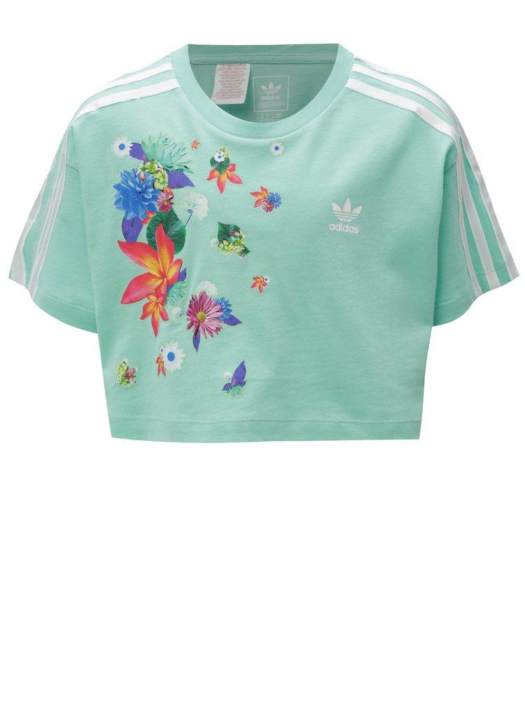 Zelený holčičí oversize crop top s potiskem adidas Originals Cropped