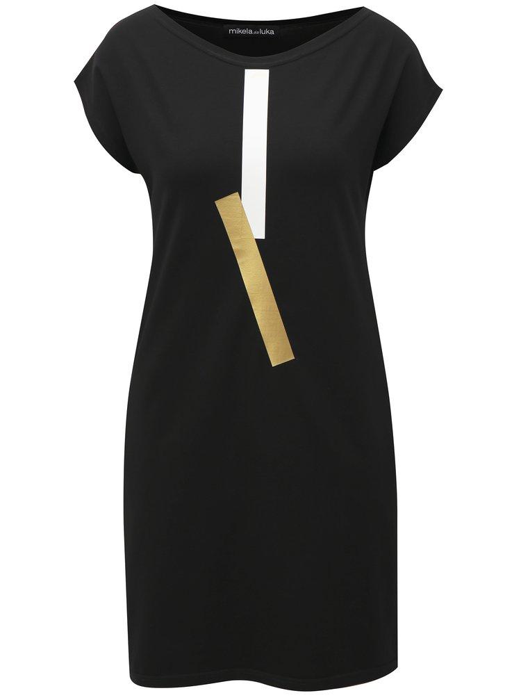 Černé šaty s potiskem a kapsami Mikela da Luka