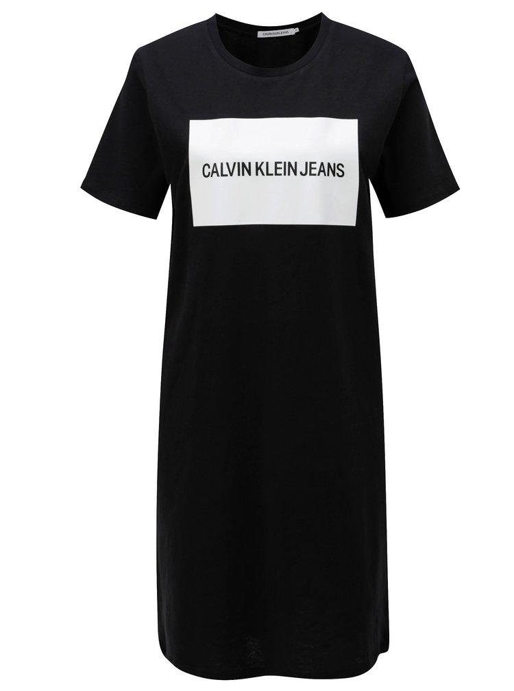 Černé tričkové šaty s krátkým rukávem Calvin Klein Jeans  5c08687478c
