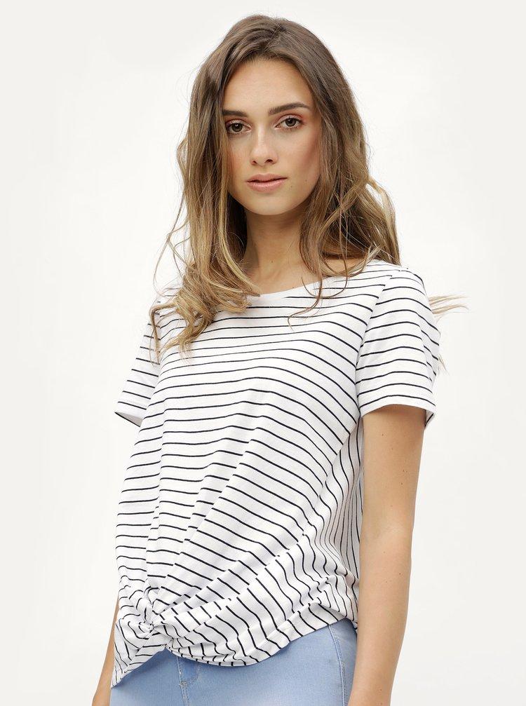Bílé pruhované tričko s uzlem ONLY Jamie
