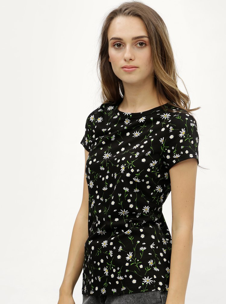 Tricou negru cu model floral si maneci scurte Dorothy Perkins