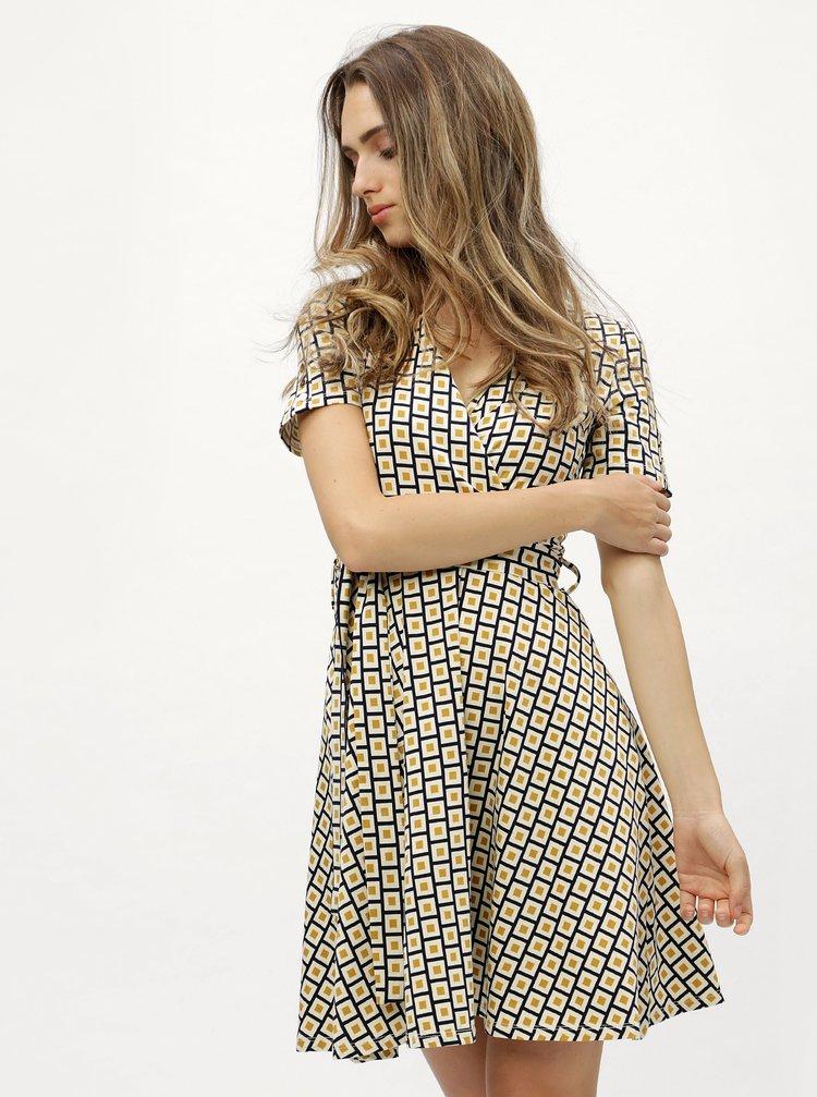 Hořčicovo-krémové vzorované šaty s překládaným výstřihem Dorothy Perkins