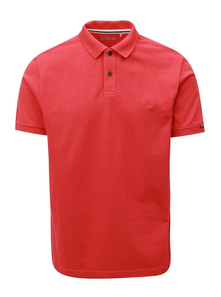 Červené pánské regular fit polo tričko s.Oliver
