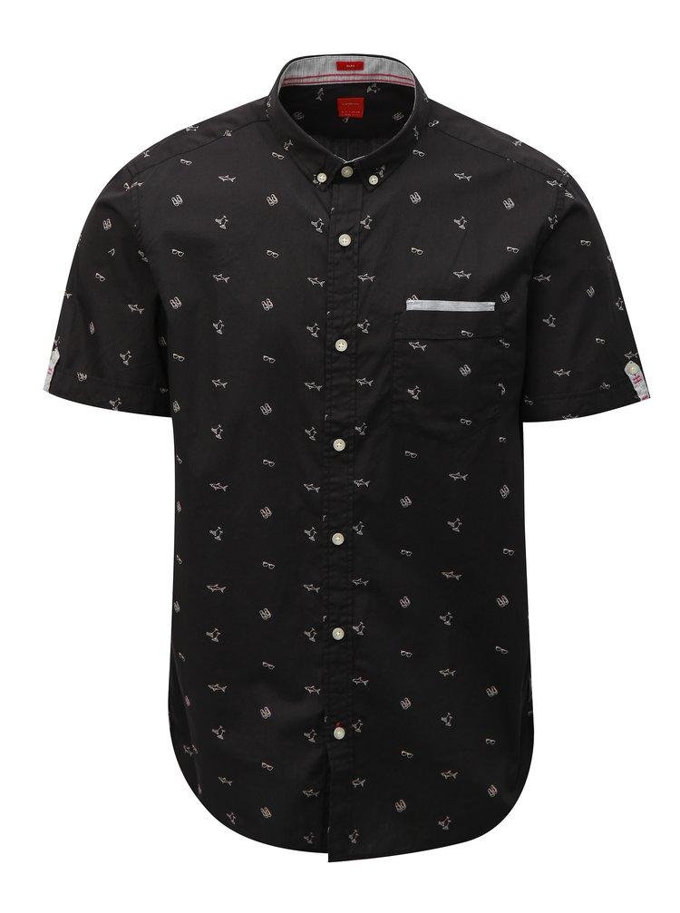 Černá pánská slim vzorovaná košile s.Oliver