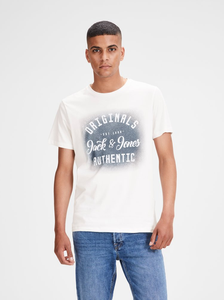 Bílé tričko s potiskem Jack & Jones Reji