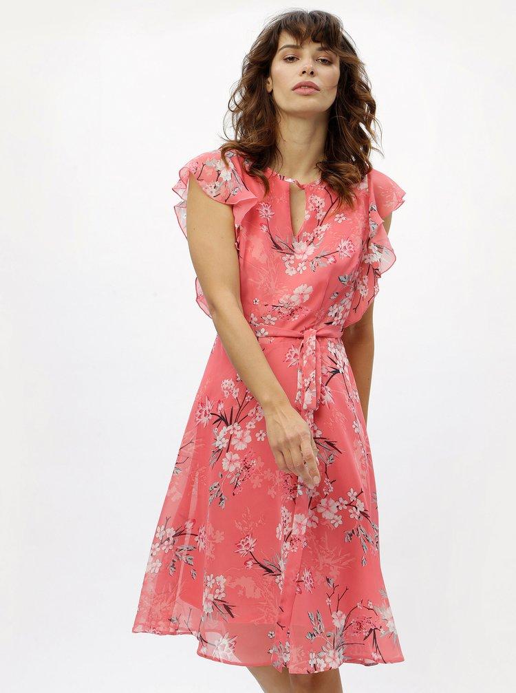Korálové květované šaty s volánky M&Co