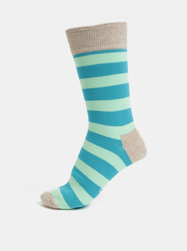 Zeleno-modré unisex pruhované ponožky Happy Socks Stripe