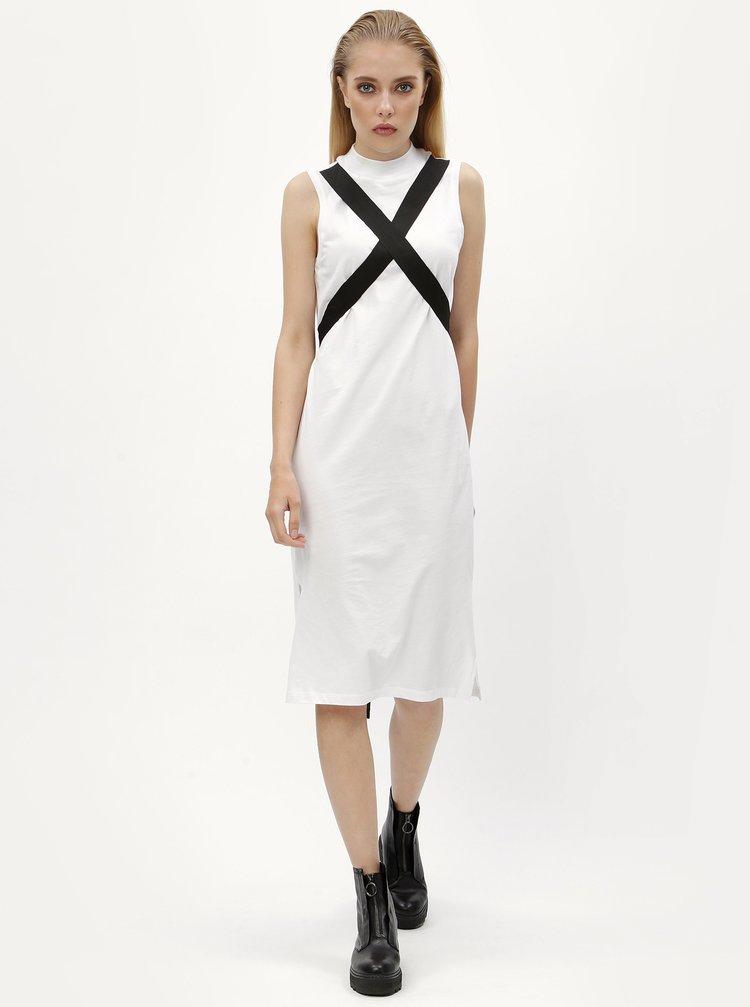 Bílé šaty s variabilním zavazováním Noisy May Sama