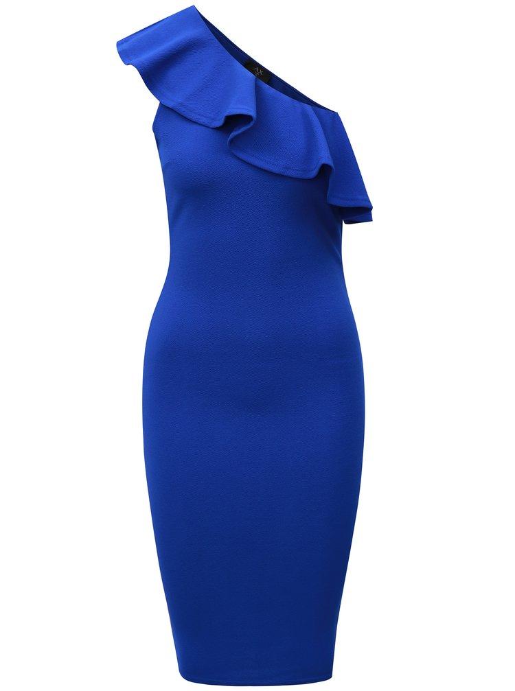 Modré asymetrické šaty s volánem AX Paris