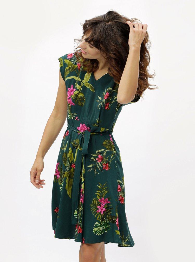 Tmavě zelené květované šaty Dorothy Perkins