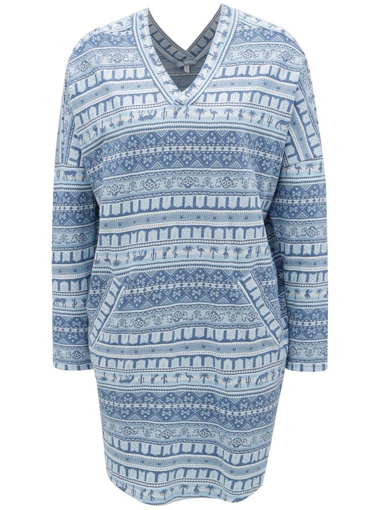 Krémovo-modré vzorované šaty Blutsgeschwister