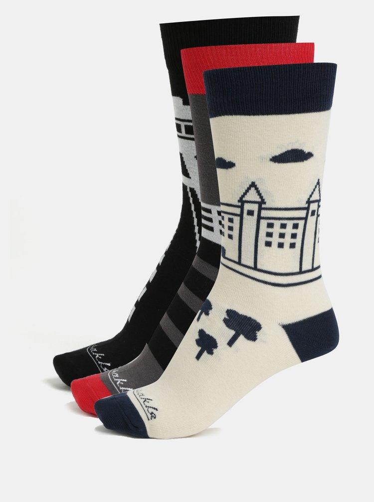 Dárková sada tří párů unisex ponožek se slovenskými dominantami Fusakle Bratislava