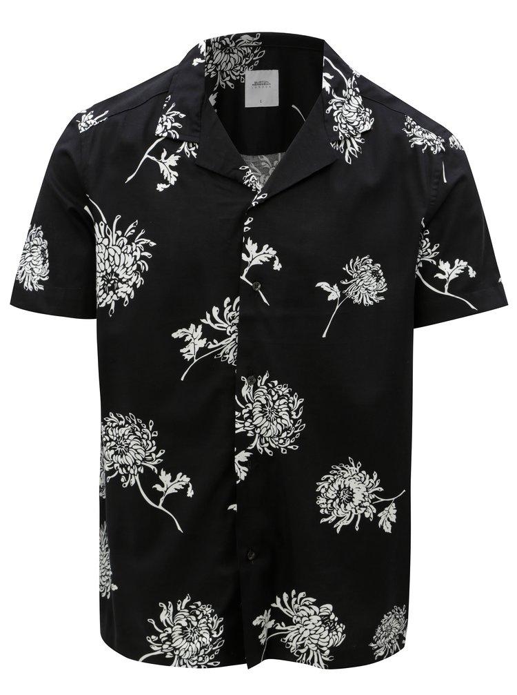 Černá květovaná košile Burton Menswear London