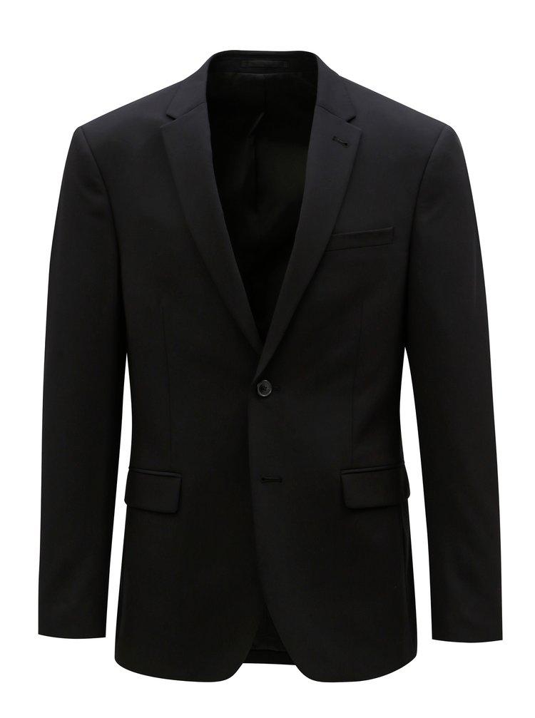 Černé oblekové muscle fit sako Burton Menswear London