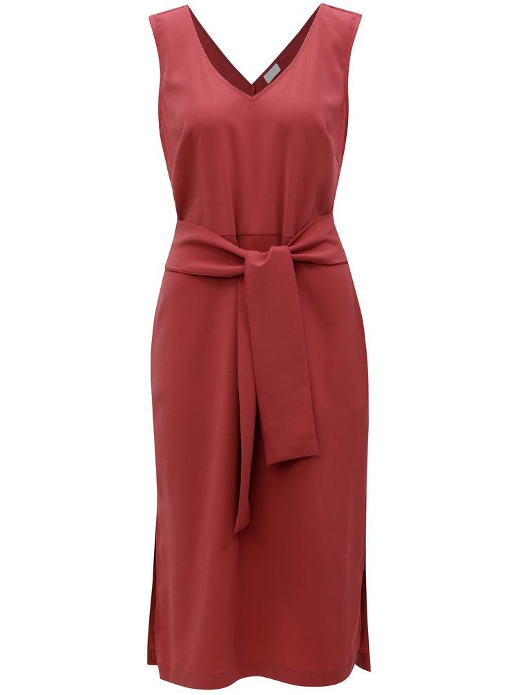 Růžové šaty s páskem VILA Vimelis