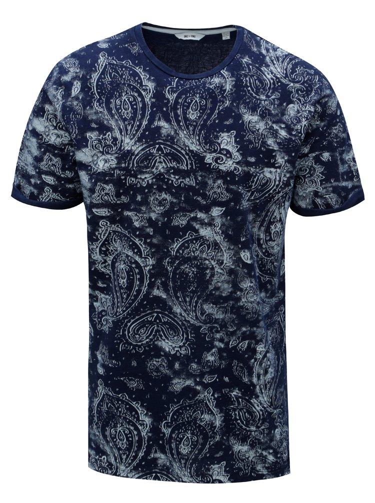 Modré vzorované tričko ONLY & SONS