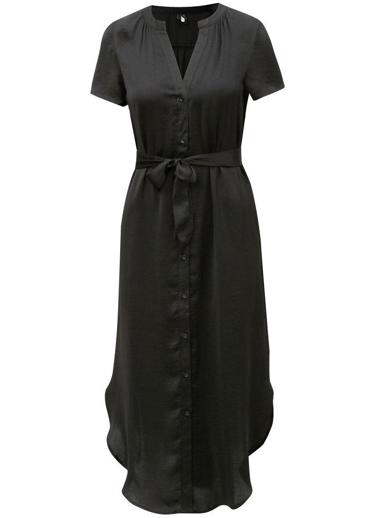 Černé košilové midišaty s páskem VERO MODA Alba