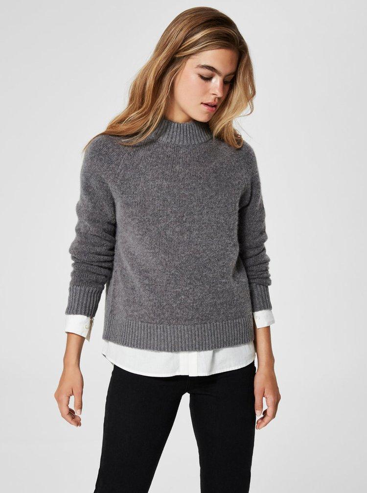 Šedý vlněný svetr Selected Femme