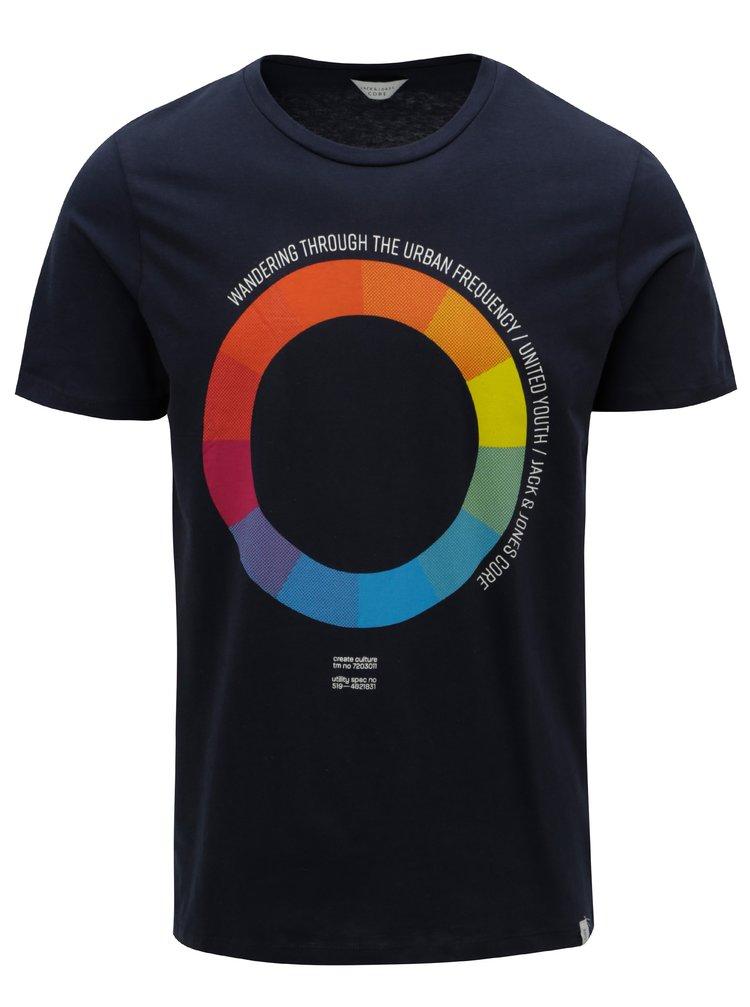 Tmavě modré tričko s barevným potiskem Jack & Jones