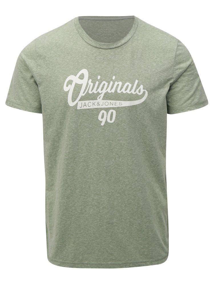 Zelené žíhané tričko s potiskem Jack & Jones