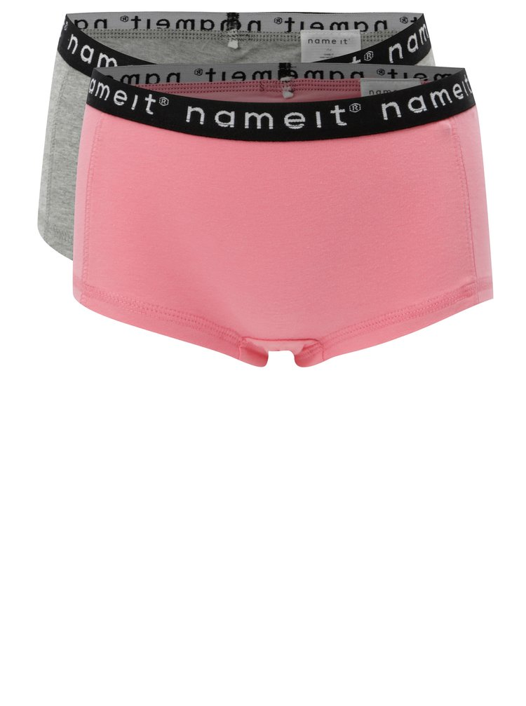 Sada dvou holčičích kalhotek v šedé a růžové barvě Name it Hipster