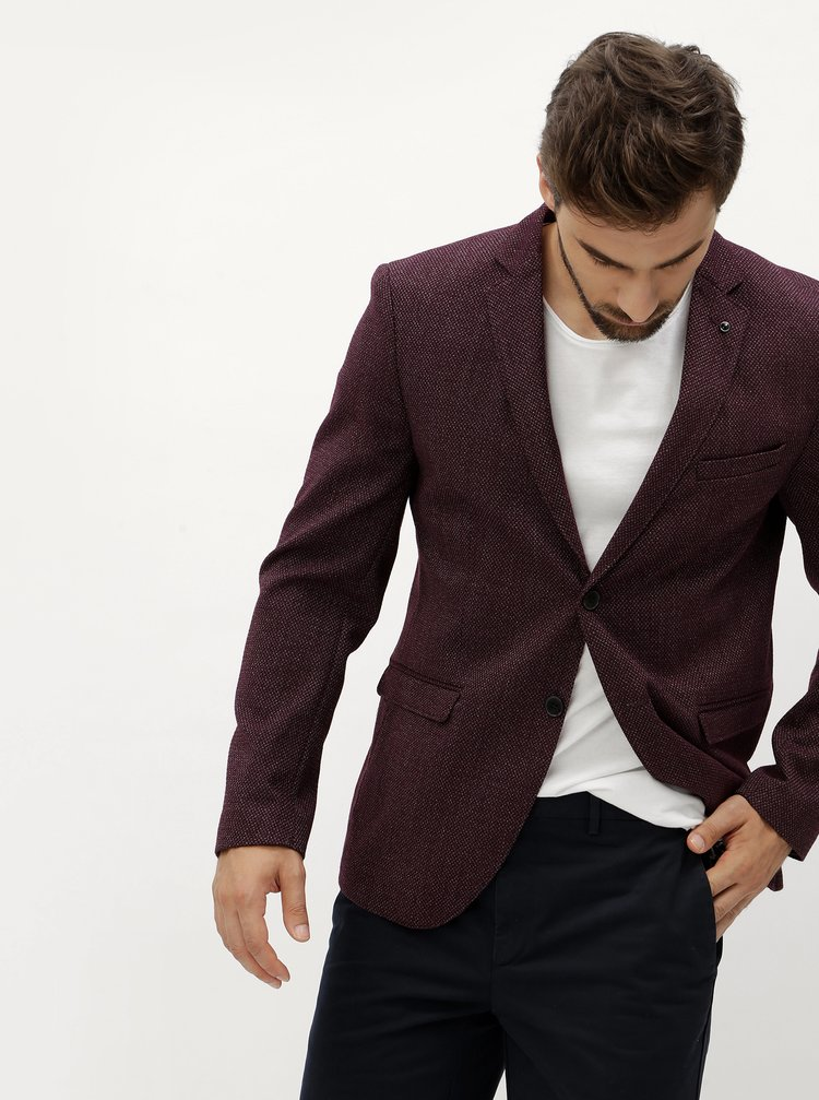 Vínové sako Selected Homme Slim Cain