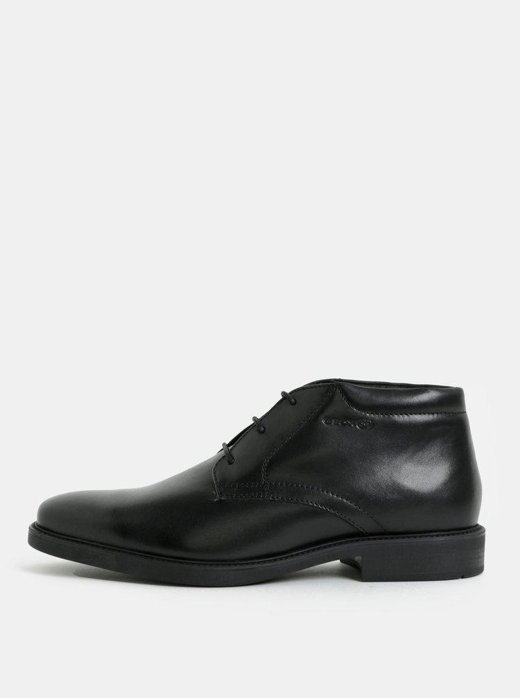Černé pánské kožené kotníkové boty Geox