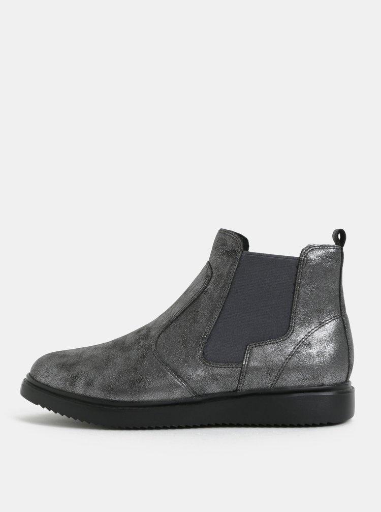 Tmavě šedé dámské metalické chelsea boty Geox