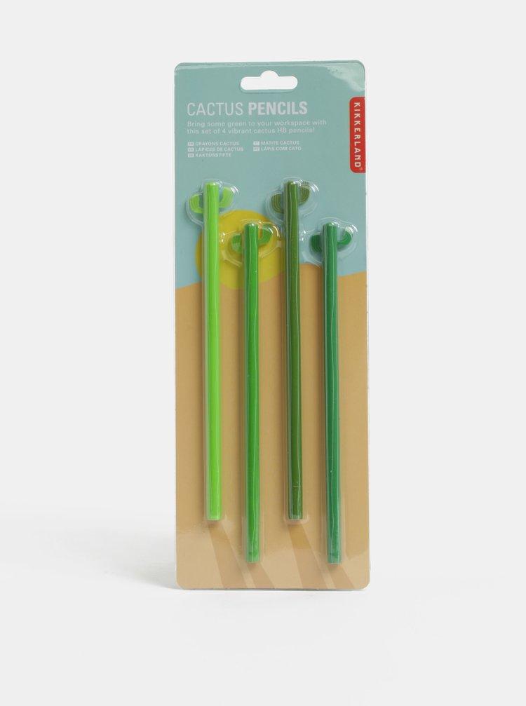Súprava štyroch zelených ceruziek v tvare kaktusu Kikkerland