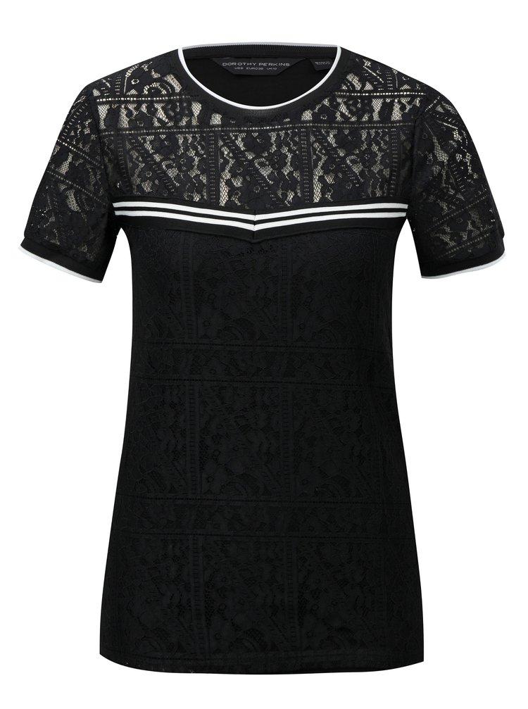 Černé krajkové tričko s pruhovanými detaily Dorothy Perkins