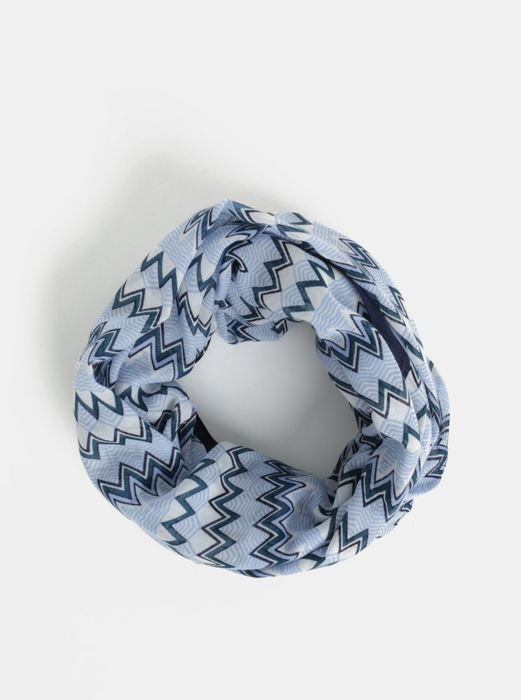 Esarfa circulara crem-albastru cu model Pieces Tricana