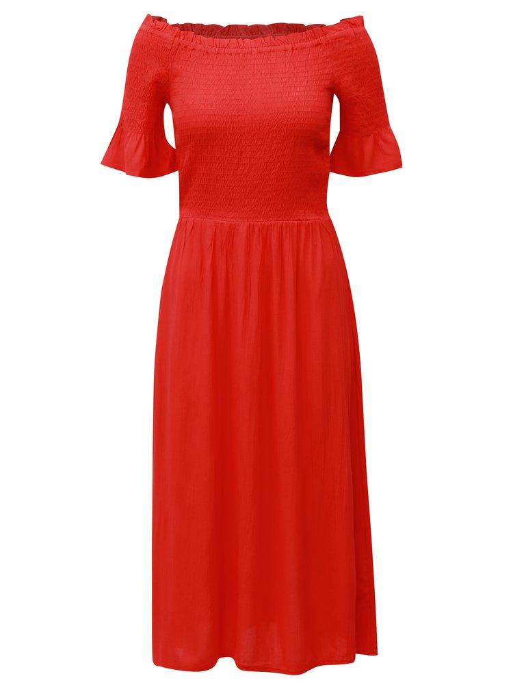 Červené midišaty s odhalenými rameny Dorothy Perkins