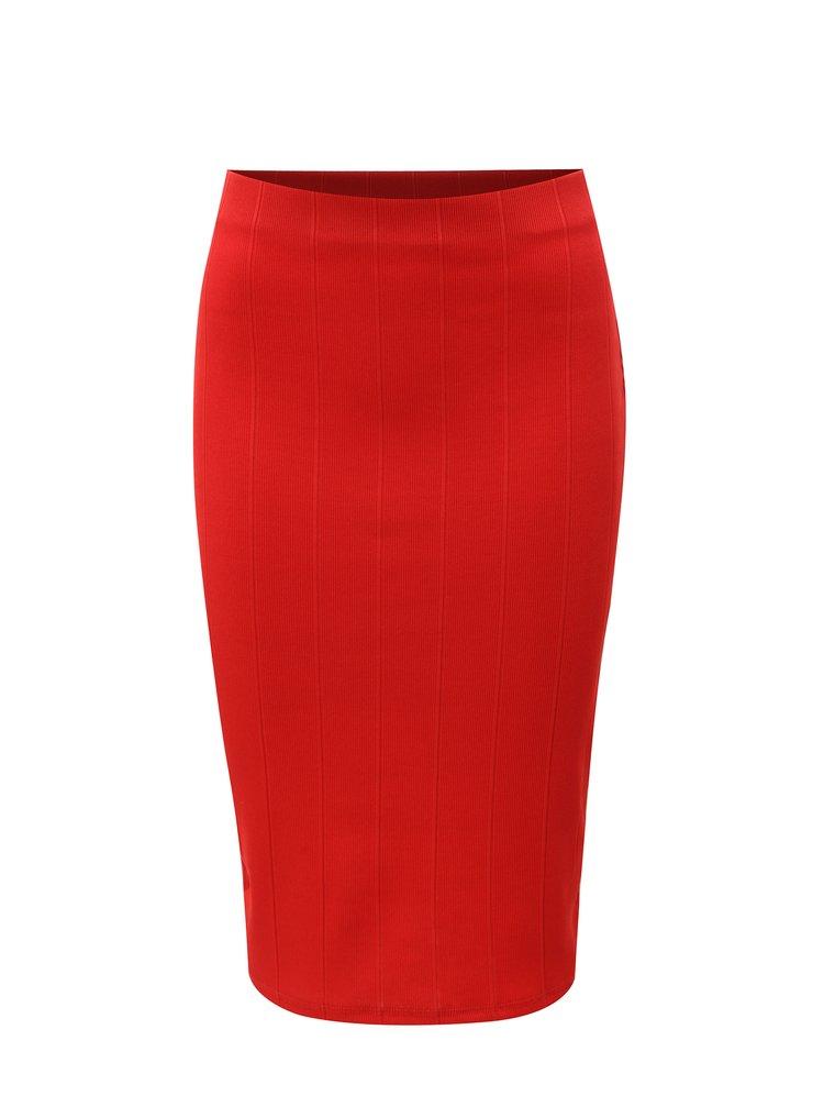 Červená pouzdrová žebrovaná sukně Dorothy Perkins