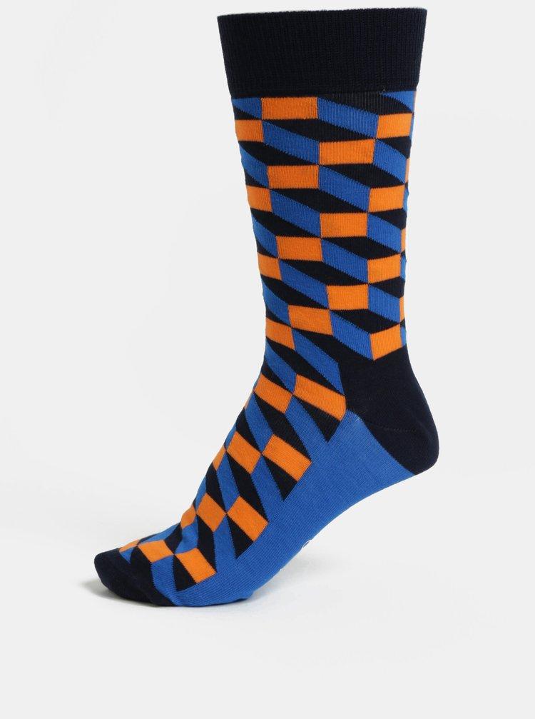 Oranžovo-modré pánské ponožky Happy Socks Filled Optic Sock