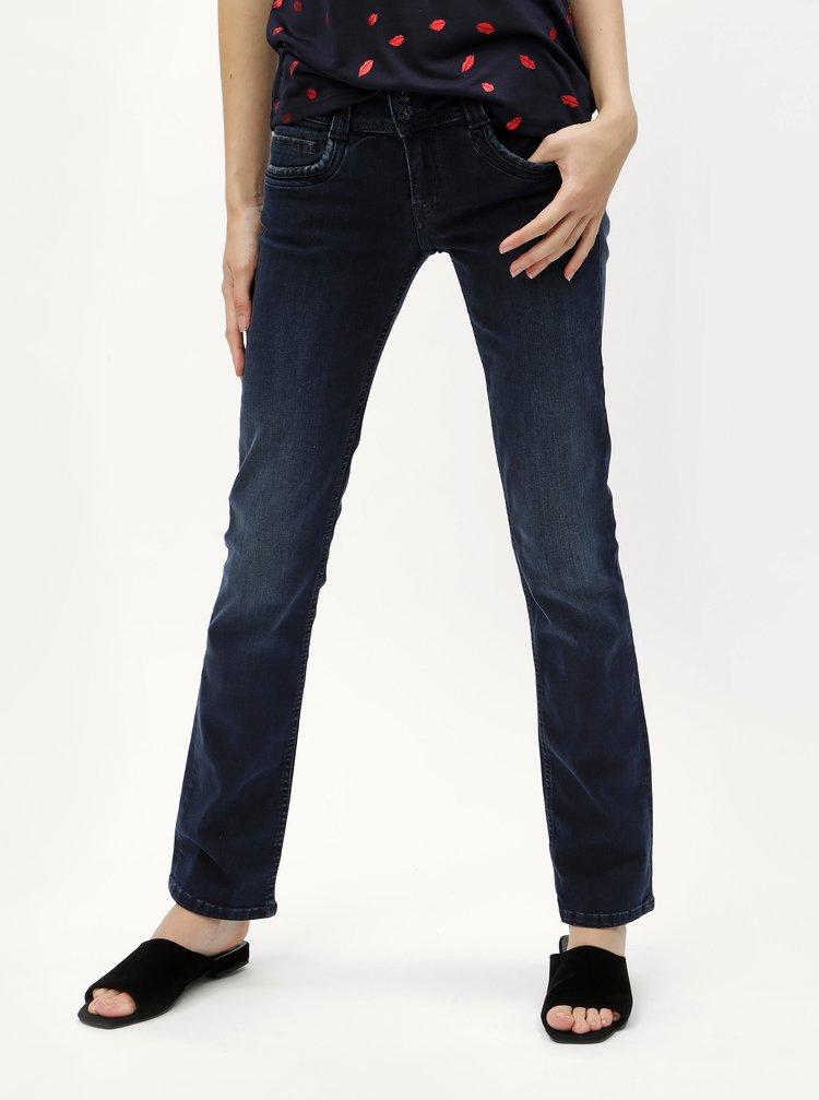 Blugi de dama albastru inchis straight din denim Pepe Jeans Gen