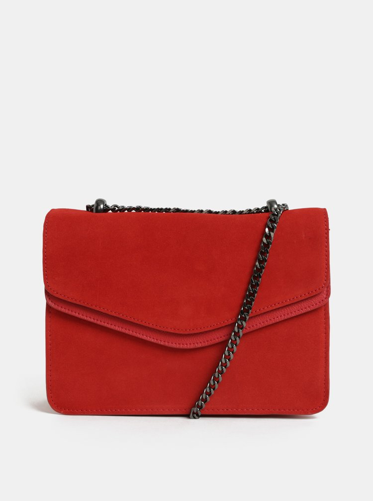 Červená semišová crossbody kabelka Pieces Tahira