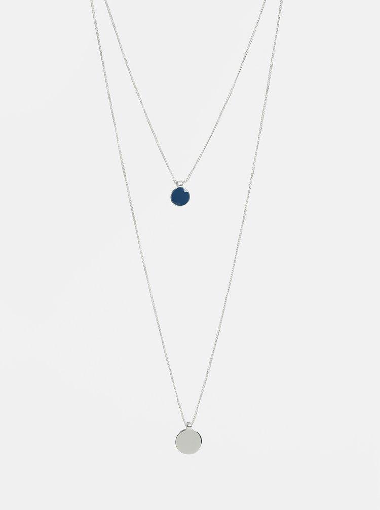 Náhrdelník ve stříbrné barvě s modrým přívěškem Pieces Trine
