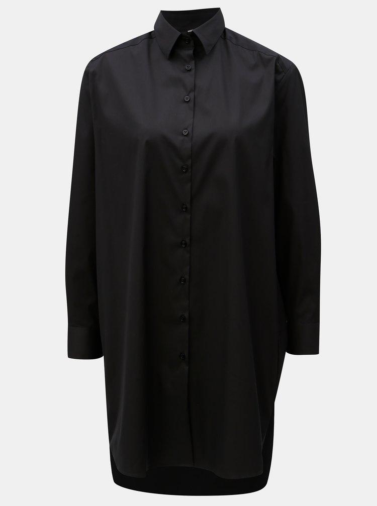 8f4894e14716 ... Čierne voľné košeľové šaty s dlhým rukávom VAVI