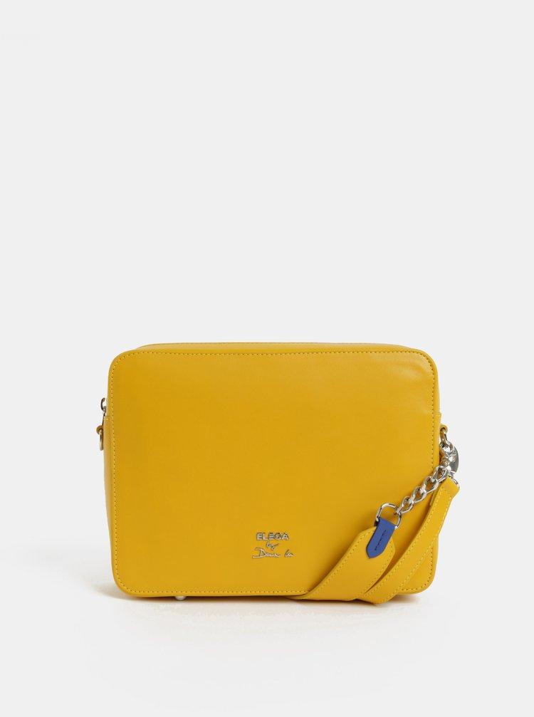 Žlutá kožená kabelka ELEGA