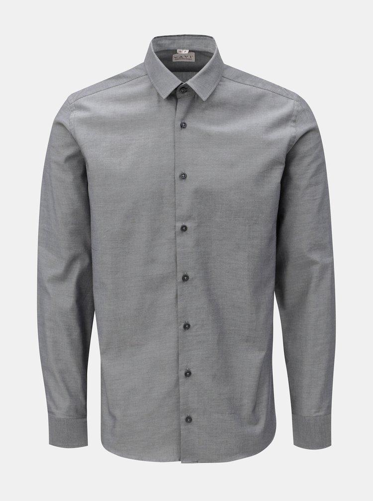 2a84e7fe6 Sivá pánska košeľa so záplatami na lakťoch VAVI | ZOOT.sk