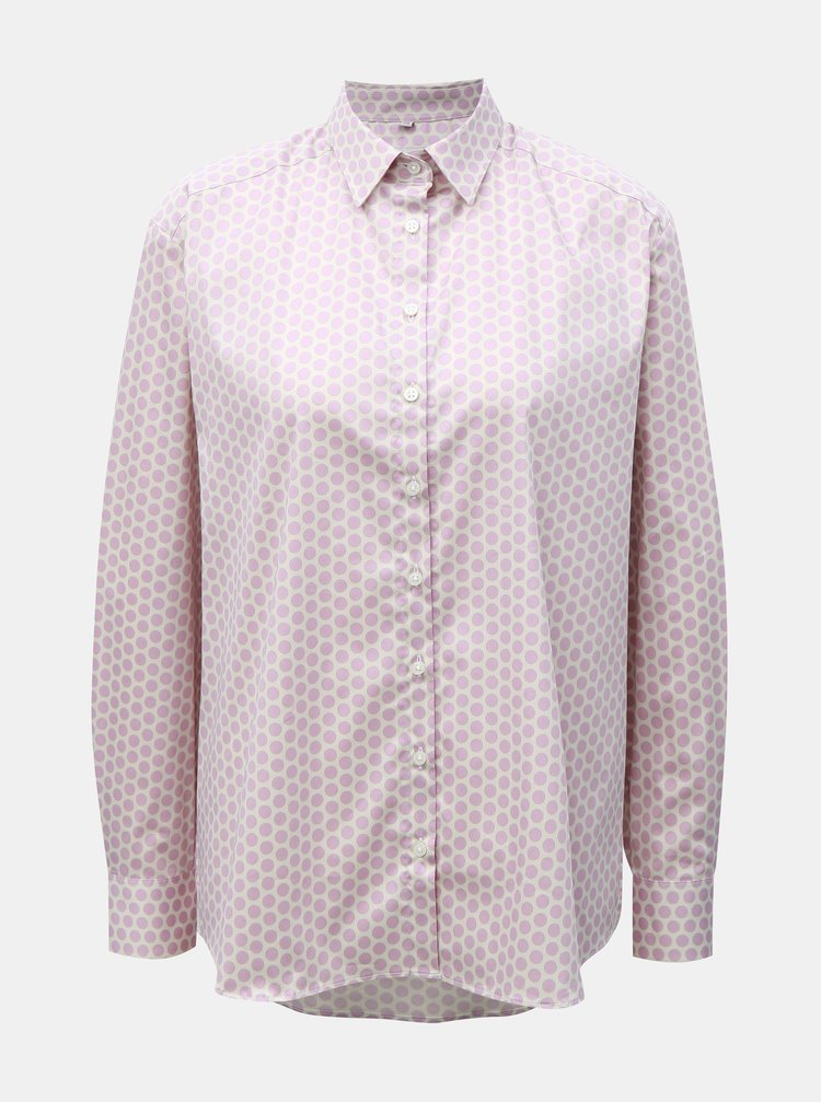 Krémovo-růžová puntíkovaná volná košile VAVI