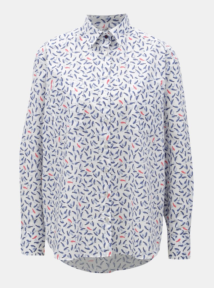 Modro-bílá dámská volná košile s motivem babyk VAVI
