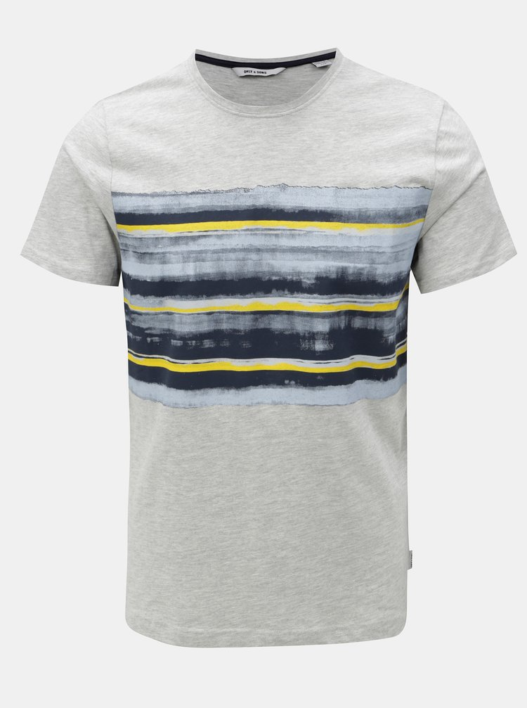 Světle šedé žíhané tričko s potiskem ONLY & SON