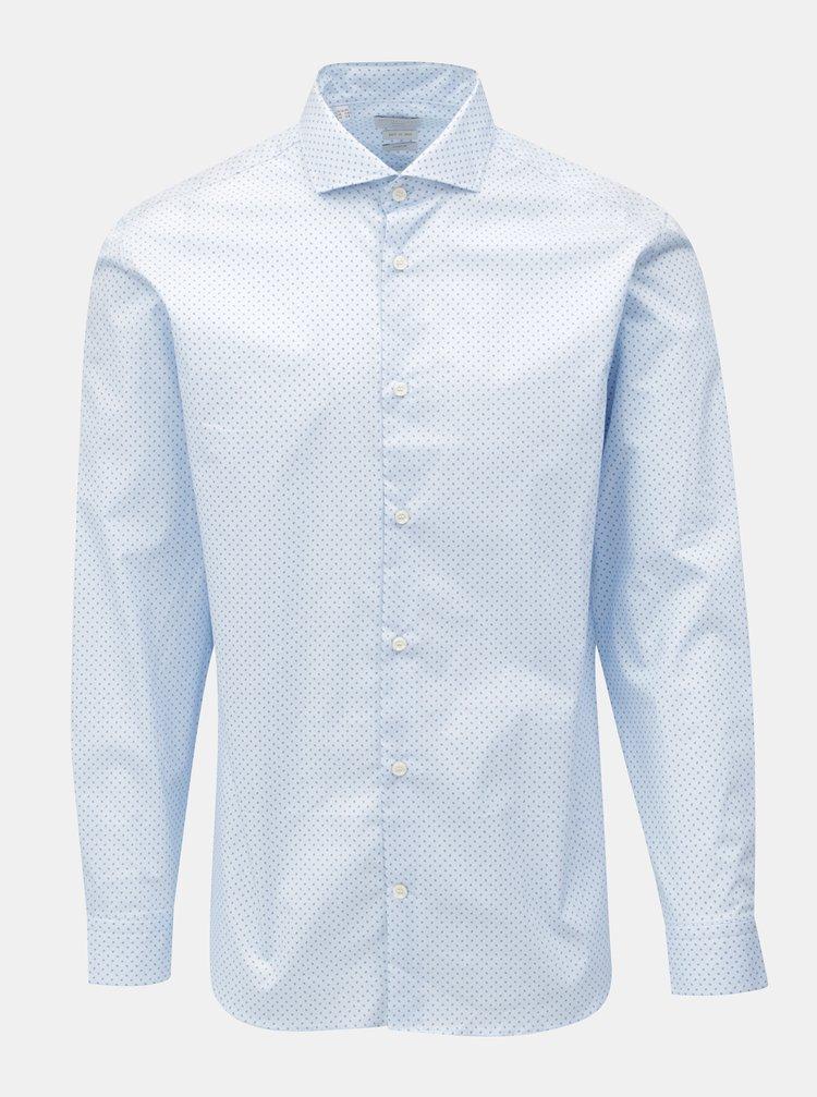 Světle modrá vzorovaná slim fit košile Selected Homme One Sel-Asher