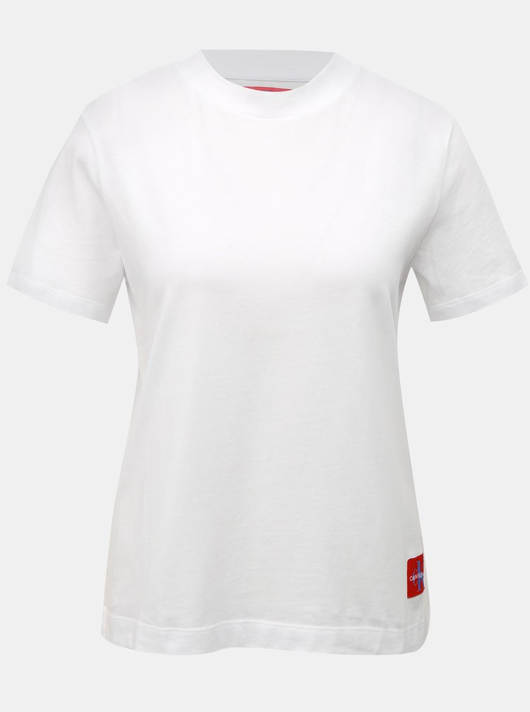Bílé dámské tričko s nášivkou Calvin Klein Jeans